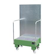 Verrijdbare lekbak LPW 60-2, met geperforeerde plaatwand, van staal, capaciteit 2 x 60 liter vat, groen