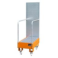 Verrijdbare lekbak LPW 60-3, met geperforeerde plaatwand, van staal, capaciteit 2 x 60 liter vat, oranje