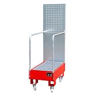 Verrijdbare lekbak LPW 60-3, met geperforeerde plaatwand, van staal, capaciteit 2 x 60 liter vat, rood
