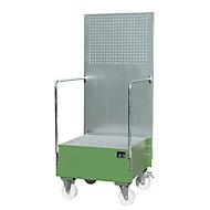 Verrijdbare lekbak met geperforeerde plaatwand, van staal, capaciteit 1 x 200 liter vat, groen