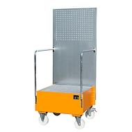 Verrijdbare lekbak met geperforeerde plaatwand, van staal, capaciteit 1 x 200 liter vat, oranje