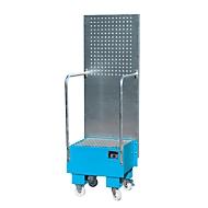 Verrijdbare lekbak met geperforeerde plaatwand, van staal, capaciteit 1 x 60 liter vat, blauw