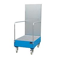 Verrijdbare lekbak met geperforeerde plaatwand, van staal, capaciteit 2 x 200 liter vaten, blauw gelakt