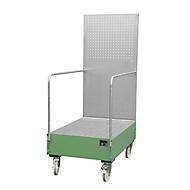 Verrijdbare lekbak met geperforeerde plaatwand, van staal, capaciteit 2 x 200 liter vaten, groen gelakt