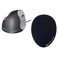 Verticale muis BakkerElkhuizen Evoluent4, kabelaansluiting, voor rechtshandigen, zwart/zilver, + muismat The Egg