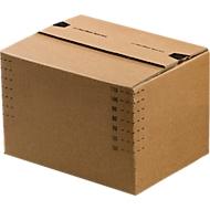 Verzenddozen, automatische bodem & hersluitbaar klepdeksel, tot 20 kg, binnenafmetingen L 175 x B 105 x H 75 mm, golfkarton, bruin, 50 stuks