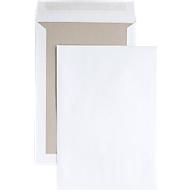 Verzendenvelop, B4, kartonnen achterkant en kleefsluiting, zonder venster, wit, 125 st.