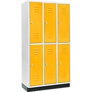 Vestiaire, avec 3 x 2 compartiments, 300mm, sur socle, serrure à came batteuse, porte jaune