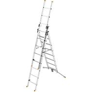 Vielzweckleiter Hailo ProfiLOT, EN 131, LOT-System, Treppen verstellbar bis 540 mm, bis 150 kg, 2 x 6 + 1 x 5