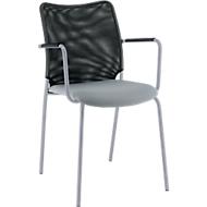 Vierfuß-Stuhl Sun, mit Armlehnen, alusilber/grau