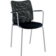 Vierfuß-Stuhl Sun, mit Armlehnen, alusilber/schwarz