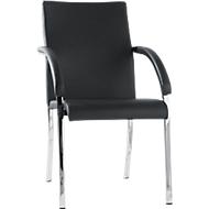 Vierpoot stoel Riva, leer, zwart