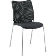 Vierpoot stoel Sun, zonder armleuningen, aluminium zilver/zwart