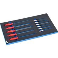Vijlenset in hardschuim inleg, 11 stuks. voor kasten uit de FS5-serie, afmetingen 299 x 567 mm