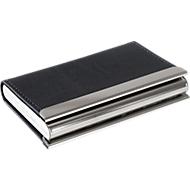 Visitenkarten-Powerbank, 1x USB 2.0, 3000 mAh, Lederoptik, Chromleiste