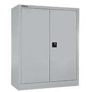 Vleugeldeurkast MS iCONOMY, staal, 3 ordnerhoogten, B 800 x D 400 x H 1215 mm, wit aluminium RAL 9006