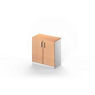 Vleugeldeurkast TETRIS SOLID, 2 ordnerhoogten, B 800 mm, afsluitbaar, met afdekplaat, beukenpatroon/blank aluminium