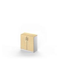 Vleugeldeurkast TETRIS SOLID, 2 ordnerhoogten, B 800 mm, afsluitbaar, met afdekplaat, esdoornpatroon/blank aluminium