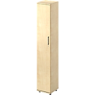 Vleugeldeurkast TETRIS WOOD, 6 ordnerhoogten, B 400 x D 421 x H 2270 mm, hoogte incl. glijders, deur links, esdoornpatroon