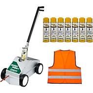 Vloermarker Perfekt-Striper + 12 blikjes geel Markeerverf SET + waarschuwingsvest GRATIS