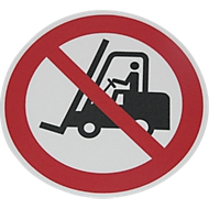 Vloermarkeringsbord verboden voor transportwerktuigen