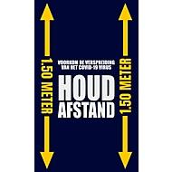 """Voetmat """"Afstand houden"""", polyamide/vinyl, L 1500 x B 900 mm, blauw/geel/wit, Nederlandse markering"""