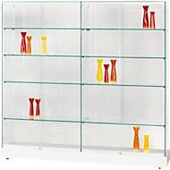 Volledig glazen staande vitrinekast GRANAT, wit