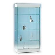 Volledig glazen staande vitrinekast ONYX, H 1950 x B 940 x D 480 mm, wit