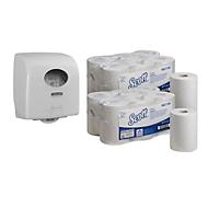 Voordeelset Kimberly Clark rollen handdoekpapier Scott Control Slim + gratis dispenser