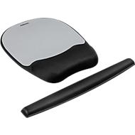 Voordeelset polssteun met muismat en polssteun voor toetsenbord, zwart/zilver