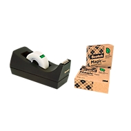 "Voordeelset tafelafroller Scotch® + 3 rollen Scotch® plakband ""Magic tape: A Greener Choice"""
