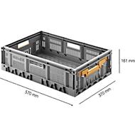 Vouwkrat, recyclebaar & stapelbaar, draagvermogen 20 kg, 600 x 400 x 170 mm, grijs