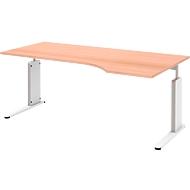 Vrijvormtafel v. aanbouw, rechts, beuken