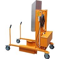 Vuilnisbakkantelstation MKS, voor 120 & 240 l tonnen, uitwerphoogte 1480 mm, kantelhoek 135°, tot 110 kg, wielen, 230 V, RAL 2000
