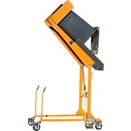 Vuilnisbakkantelstation MKS, voor 120 & 240 l tonnen, uitwerphoogte 1480 mm, kantelhoek 135°, tot 110 kg, wielen, handpomp, RAL 2000