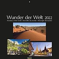 Wandkalender Wunder der Welt, schwarzes Fotopapier, B 440 x H 360 mm, Werbedruck 280 x 40 mm