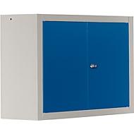 Wandkast MS 750 met vleugeldeuren, B 750 x D 320 x H 600 mm, blank aluminiumkleurig /blauw