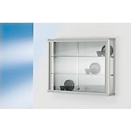 Wandvitrinekast, 800 x 590 x 120 mm, 2 glazen legborden, afsluitbare schuifdeur