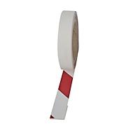 Warnmarkierungsfolie, rw, rot/weiß, 25mm x 25m