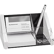 WEDO bureau organizer, glashelder acryl, 1 pennenvakje, 2 bewaarvakjes en 1 notitievakje