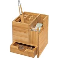 Wedo tafel organizer bamboe kubus, met kleefband dispenser, pennenbakje, lade, bamboe blokje, met pennenbakje