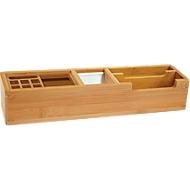 Wedo Tischorganizer Bambus, 2 Fächer, 2 Aluminium-Einsätze