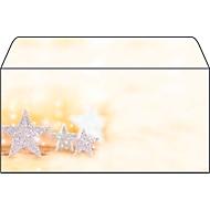 Weihnachts-Briefumschlag Glitter Stars, gummiert, DIN lang, 50 Stück