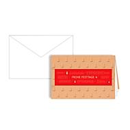 Weihnachtskarte, braun-rot, m. veredeltem Lesezeichen, Einlage + Kuvert in Naturweiß, 10 St.