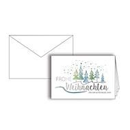Weihnachtskarte, weiß-türkis, Silberfolienprägung, Einlage + Kuvert in Naturweiß, 10 St.