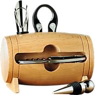 Weinset Bota, 4-teilig, als Mini-Holzfass ausgeführt, B 130 x T 80 x H 140 mm