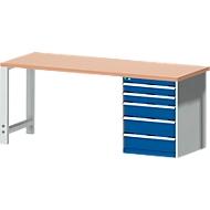 Werkbank cubio W-2077-11-2.34, gentiaanblauw