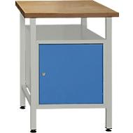 Werkbank met 1 deur en 1 legbord, B 600 x D 600 x H 840 mm, grijs/gentiaanblauw