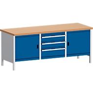 Werkbank met kast 2078-2.3, gentiaanblauw