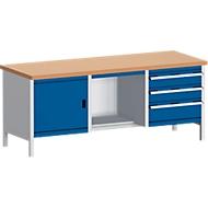 Werkbank met kast 2078-2.8, gentiaanblauw